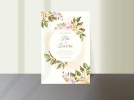 elegante Blumenhochzeitseinladungskartenschablone vektor