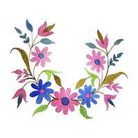 Vektor Aquarell Kreis Ecke Blumen Blätter und Zweige