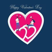 Alla hjärtans dag bakgrund, kärlekspar dricka kaffe, prata och och bli kär på rosa hjärta, kort och bakgrund vektor