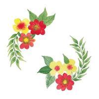 Vektor Aquarell Blumen Blätter und Zweige