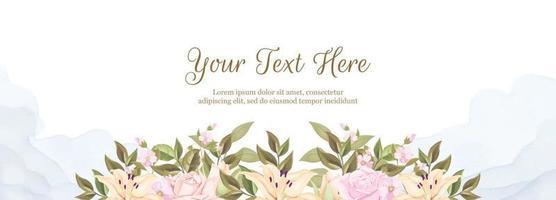 Blumenbanner-Hintergrundschablone für Hochzeitsdekoration vektor