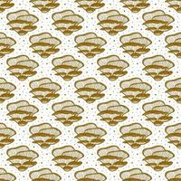 Auster Pilze. nahtloses Muster, Textur, Hintergrund. Verpackungsdesign. Tintenvektor. goldenes monochromes Design. Botanik, Natur. vektor