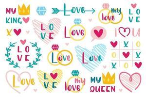 st valentins semester kärleksuppsättning vektor