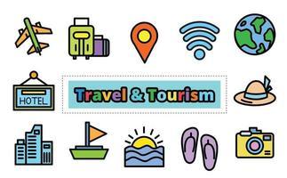 Reisetourismus-Ikonensatz, Vektordesign. vektor
