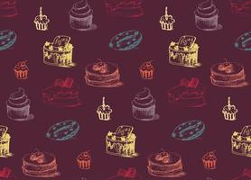 leckeres Kuchen nahtloses Muster vektor