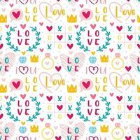 st alla hjärtans dag kärlek, hjärta, ring, krona set vektor