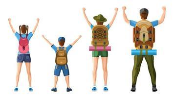 Familie von Touristen. Rückansicht Cartoon-Stil vektor