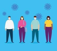 Coronavirus social distanseringskampanj med människor som bär ansiktsmasker vektor