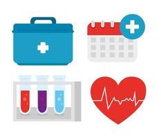 uppsättning medicinsk utrustning ikoner vektor