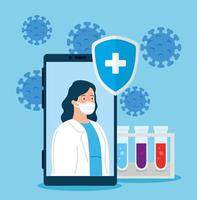 Telemedizintechnik mit Ärztin in einem Smartphone und medizinischen Ikonen
