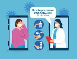 telemedicinteknik med smartphones och kvinnor vektor