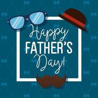 lycklig fäder dag kort med hipster tillbehör i fyrkantig ram vektor