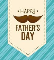 lycklig fäder dag kort med mustasch dekoration vektor