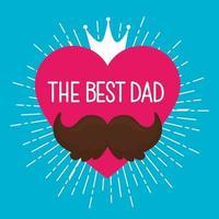 lycklig fäder dagskort och hjärta med mustasch vektor