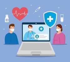 Telemedizin-Technologie mit Arzt in einem Laptop und Menschen