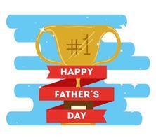 lycklig fäder dag kort med trofé dekoration vektor