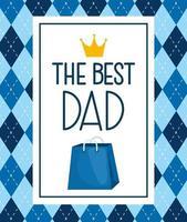 lycklig fäder dag kort med kung krona och shopping väska vektor
