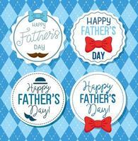 ser Karten des glücklichen Vatertags mit Dekoration vektor