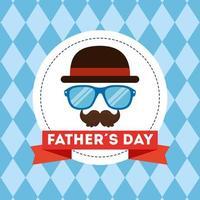 lycklig fäder dag kort med hipster tillbehör vektor
