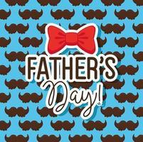 lycklig fäder dag kort med bakgrund av mustascher och fluga dekoration vektor
