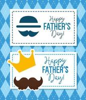 ser kort av glad fars dag med dekoration vektor