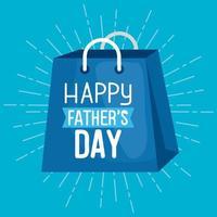 lycklig fäder dag kort med shopping väska vektor
