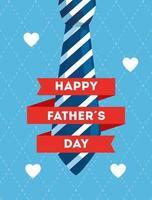 lycklig fäder dagkort med slips och hjärtan vektor