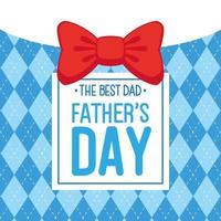 lycklig fäder dag kort med fluga dekoration vektor