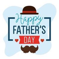 lycklig fäder dag kort med hatt elegant och mustasch vektor