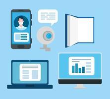 uppsättning online utbildning teknik ikoner vektor