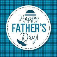 lycklig fäder dag kort med hatt och mustasch dekoration vektor