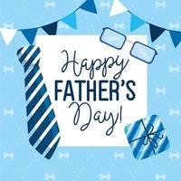 glückliche Vatertagskarte mit hängenden Girlanden und Dekoration vektor