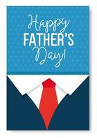 lycklig fäder dag kort med skjorta och slips dekoration vektor