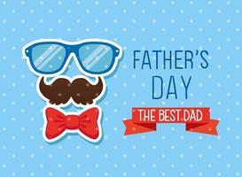 lycklig fäder dag kort med hipster tillbehör dekoration vektor