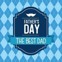 lycklig fäder dag kort med mustasch och band dekoration vektor