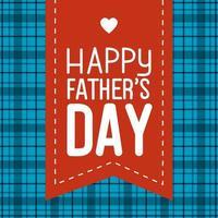 lycklig fäder dag kort med band och hjärta dekoration vektor