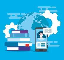 online-utbildningsteknik med smartphone och ikoner vektor