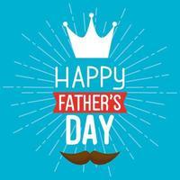 lycklig fäder dag kort med kung krona och mustasch dekoration vektor