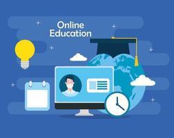 Online-Bildungstechnologie mit Computer und Symbolen vektor