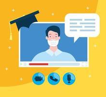 Mann Abschluss durch Online-Bildungstechnologie vektor