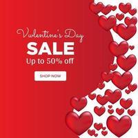 Valentinstag nach dem Verkauf mit einem minimalen Herzen vektor