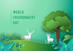 Weltumwelttagkonzept mit Hirsch im Wald vektor