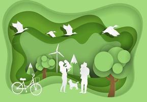 glückliche Familie auf grünem Park mit Öko- und Weltumwelttag vektor