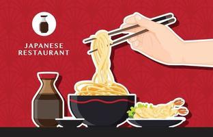 japansk ramen nudel restaurangdesign vektor