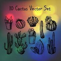 handgezeichnete isolierte Kakteen gesetzt vektor