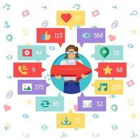 webb virtuellt socail-nätverk vektor