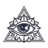Alle sehen Auge im Dreieck vektor