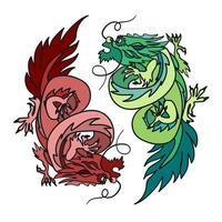 kinesisk drake orientalisk feng shui vektor