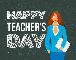 glada lärare dag firande banner vektor