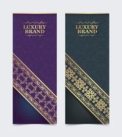 Luxus Visitenkarte und Vintage Ornament Logo Vektor Vorlage. Retro elegant blüht dekorative Rahmengestaltung und Musterhintergrund